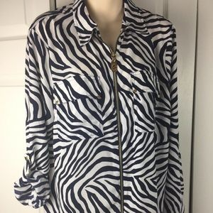 Michael Kors Zebra Zip Down Blouse